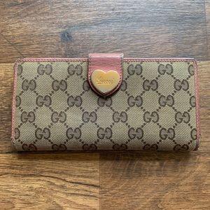 "Gucci Pink & Tan Monogram ""GG"" Long Wallet"